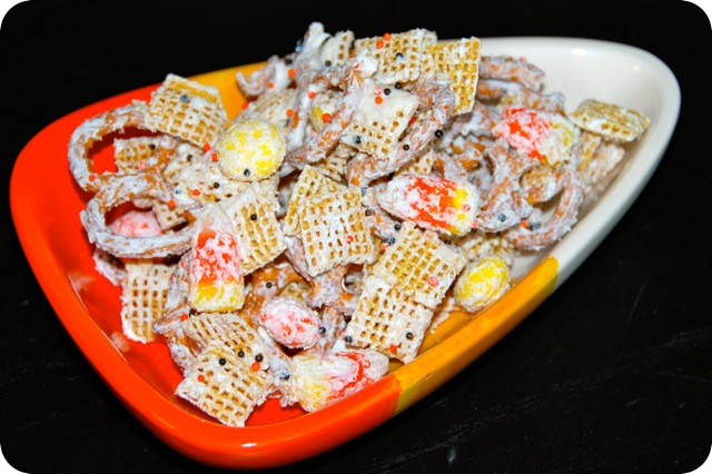 This Halloween Chex Mix is a fun and festive snack for the holiday. The sweet and salty combo with your favorite season candy corn is hard to resist!