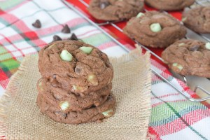 These Mint Chip Cookies are decadent and fudgy, with a cool peppermint twist. They are perfect for your holiday cookie exchange!