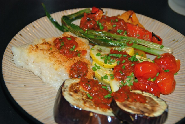 Cheese Grits and Vegetables with Roasted Red Pepper Sauce