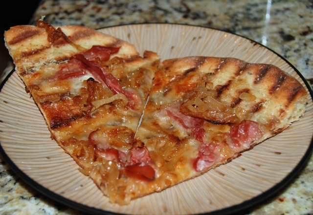 Caramelized Onion and Prosciutto Grilled Pizza