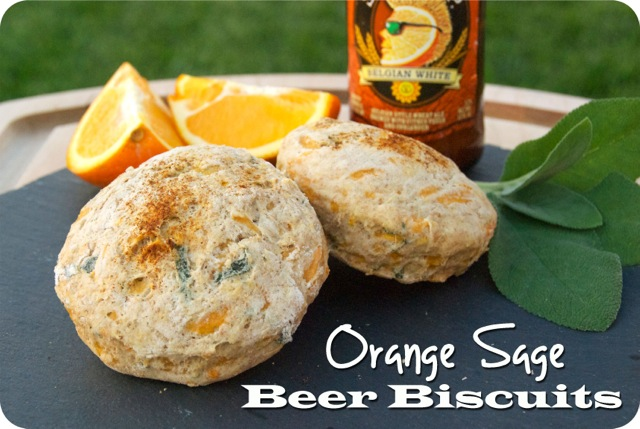 These Orange Sage Beer Biscuits are made with an orange wheat beer like Shock Top, fresh sage and bright orange zest. They are perfect with some melted butter or a drizzle of honey!