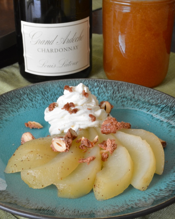 Honey Poached Pears with Amaretto Whipped Cream and Candied Almonds #CleverlyPoached