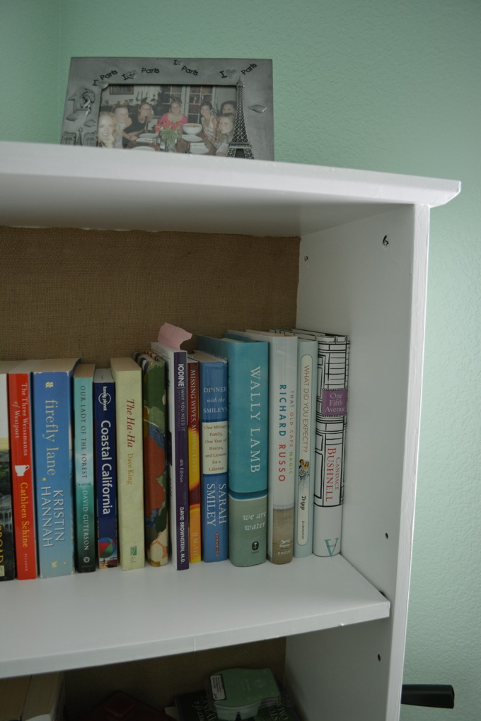 White and burlap bookshelf