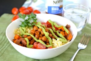 BBQ Chickpea Bowls with Avocado Cream (Vegan)