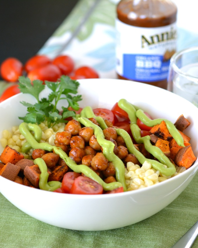 These BBQ Chickpea Bowls with Avocado Cream are packed with nutrients, protein, fiber and healthy fats. They're a delicious vegan meal that will satisfy your summer BBQ cravings!