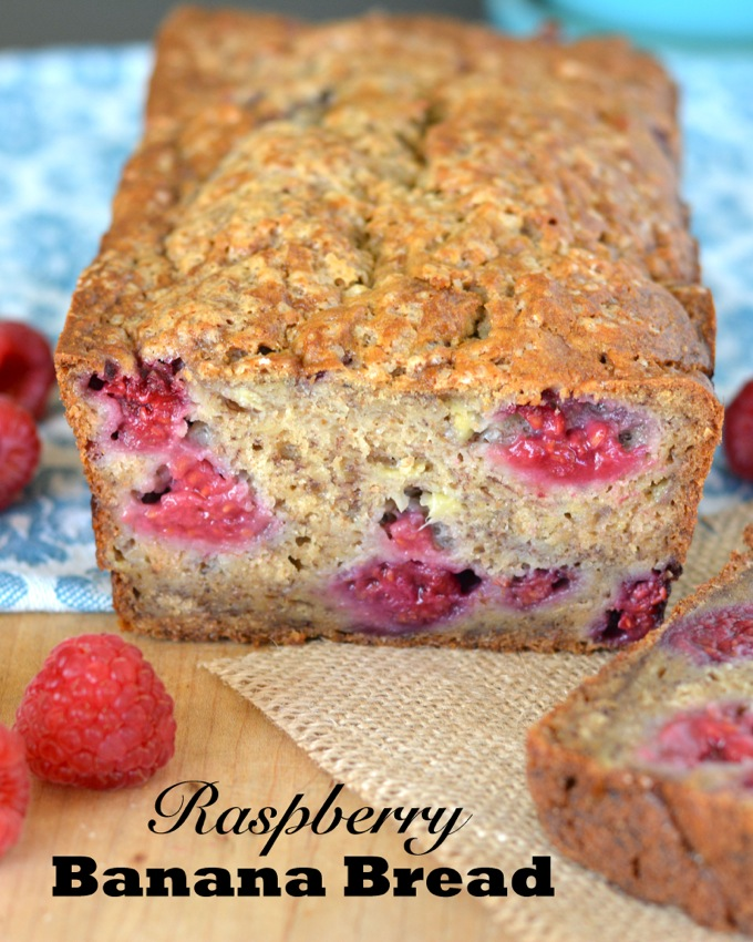 This dense, moist banana bread is full of plump, tangy raspberries (you can use fresh or frozen!). A bit of whole wheat flour makes this the perfect hearty breakfast or snack!