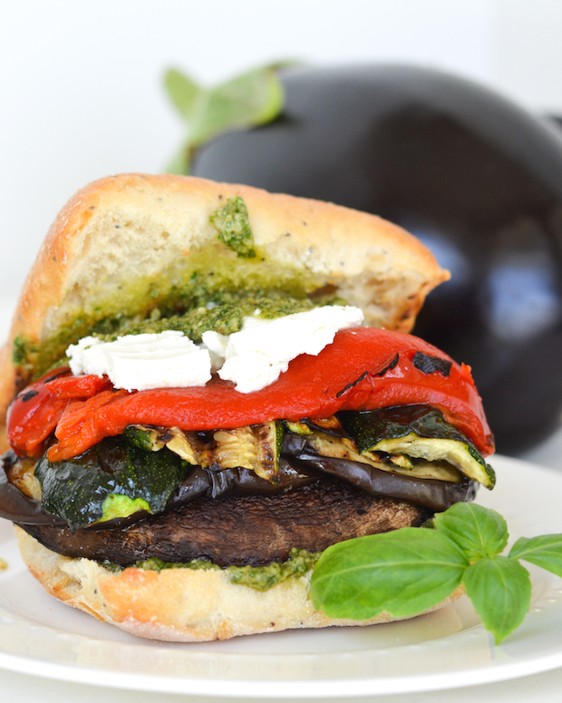 Grilled Portobello and Veggie Sandwiches with Goat Cheese and Pesto Mayo