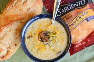 Cheddar Cauliflower Chowder with Mushrooms and Leeks