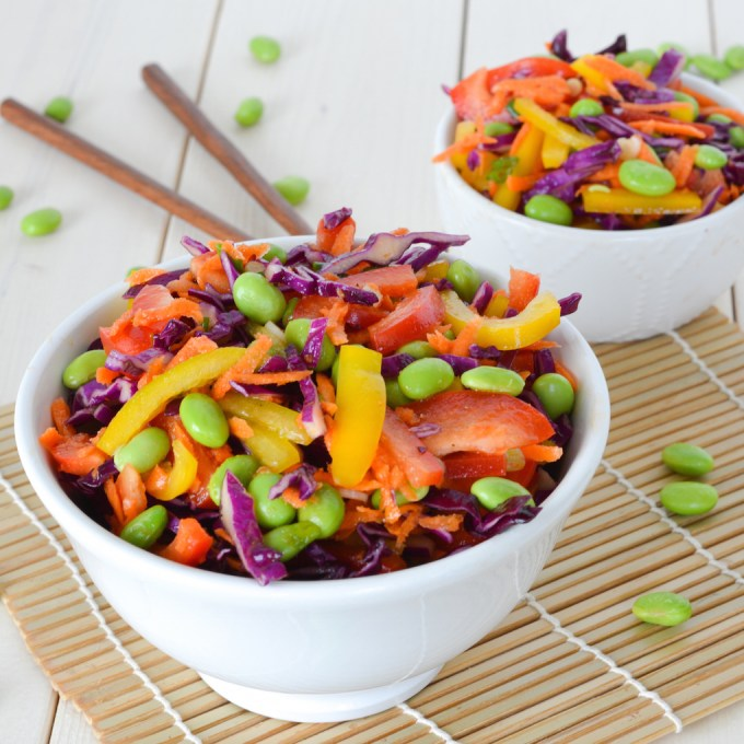 This Rainbow Edamame Slaw is bright and colorful, and packed with lots of nutrients and protein!
