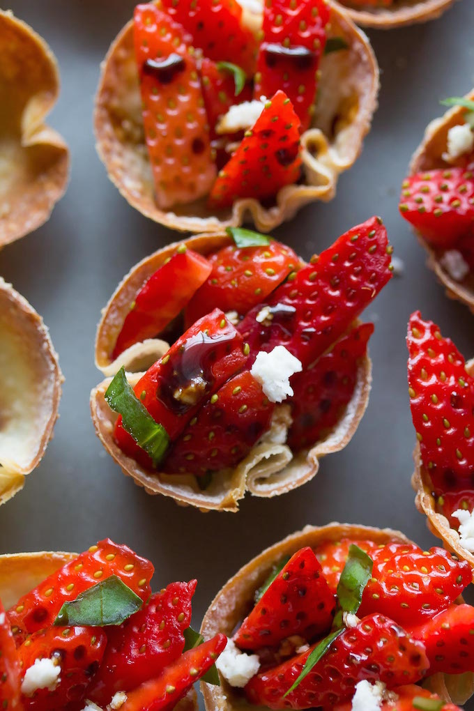 Strawberry Balsamic Wonton Bites