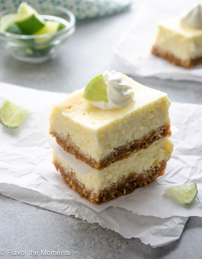 Key Lime Cheesecake Bars with Coconut Macadamia Nut Crust