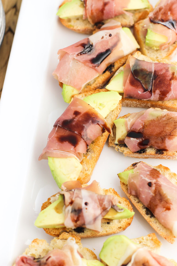 Prosciutto-Wrapped Avocado Crostini with Balsamic Glaze