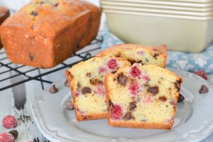 These mini loaves are packed with juicy raspberries and sweet chocolate chips. A secret ingredient-- yogurt!-- keeps the bread super moist and adds protein to fuel your morning!