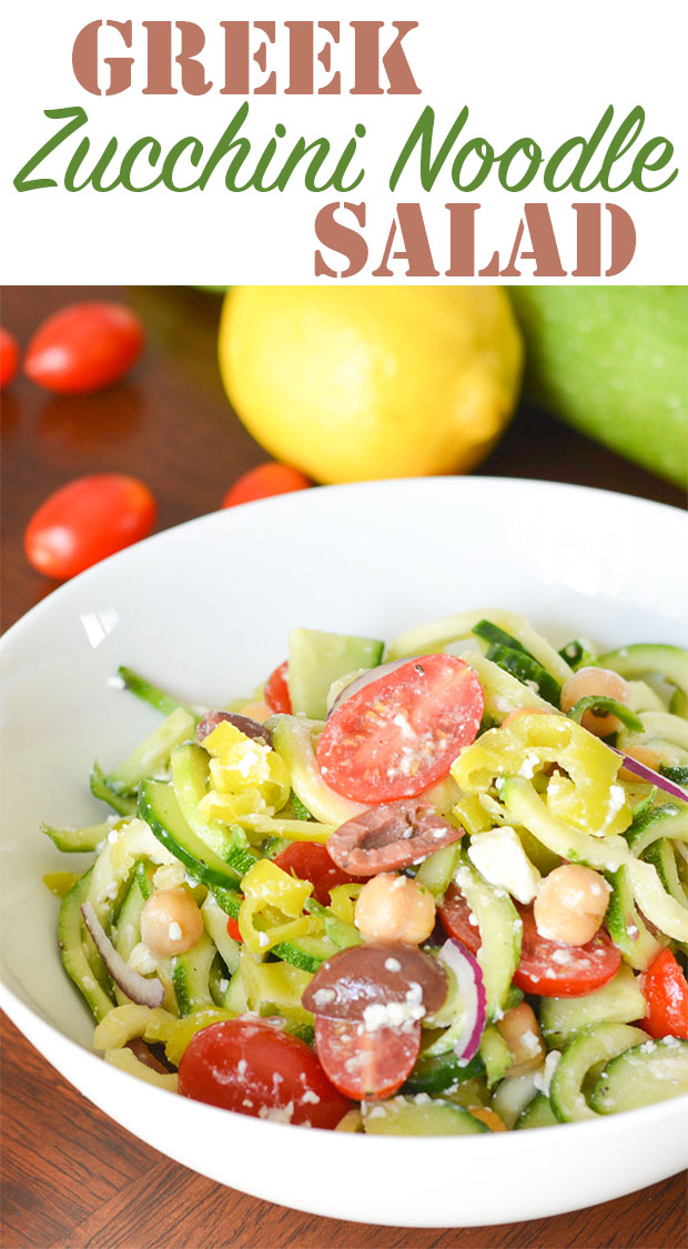 This Greek Zucchini Noodle Salad is a healthy and flavorful way to use some of your summersquash. The lemony dressing pairs perfectly with fresh zucchini!