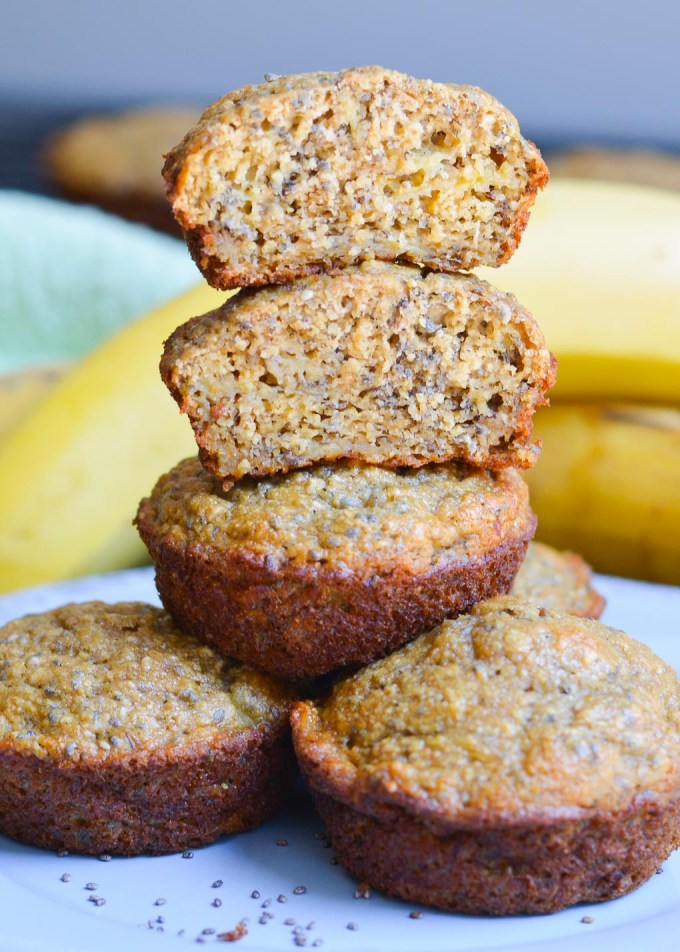 These Banana Chia Seed Muffins are super moist and sweet, and packed full of healthy ingredients! They're the perfect way to use up your brown bananas.