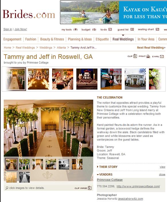 Published Wedding Photography for Primrose Cottage, Roswell GA