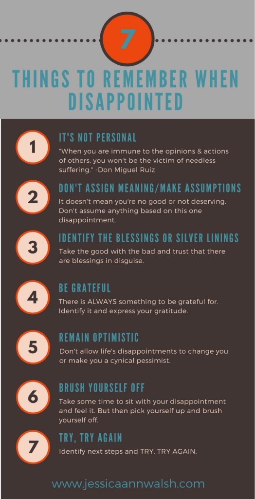 How to deal with disappointment. 7 Things to remember.