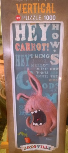 A puzzle showing a fluffy monster talking to a carrot...as ya do.