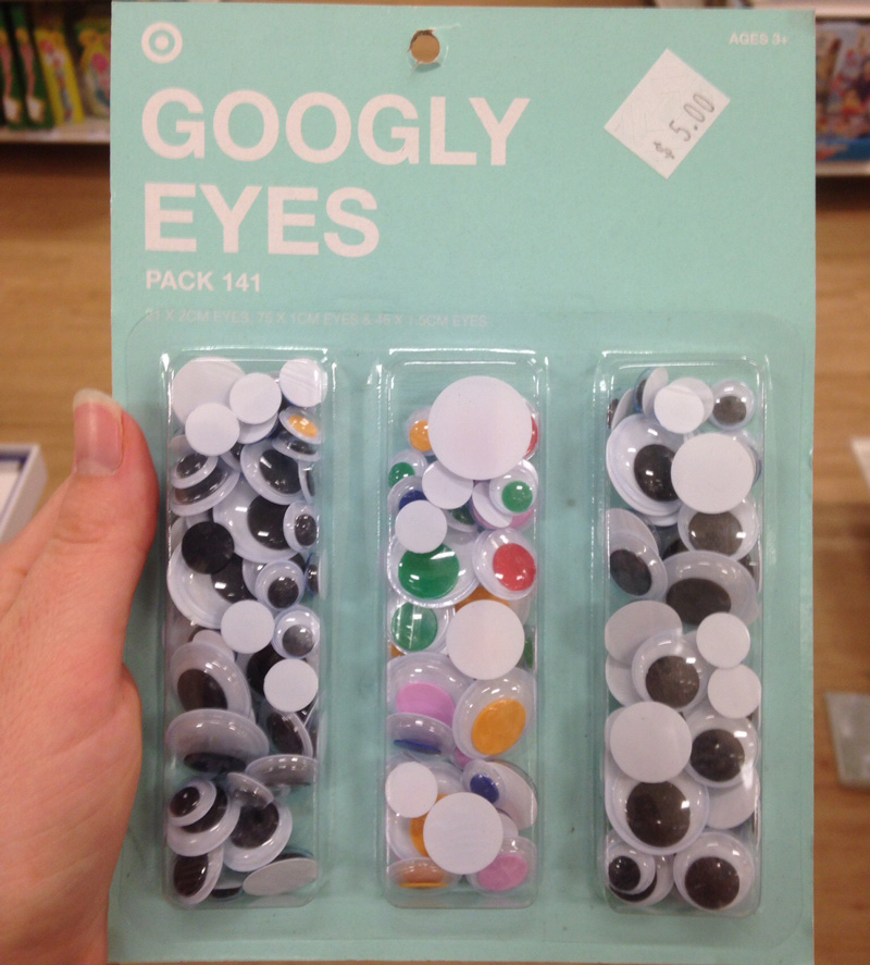 A packet of googly eyes for a child's craft project.
