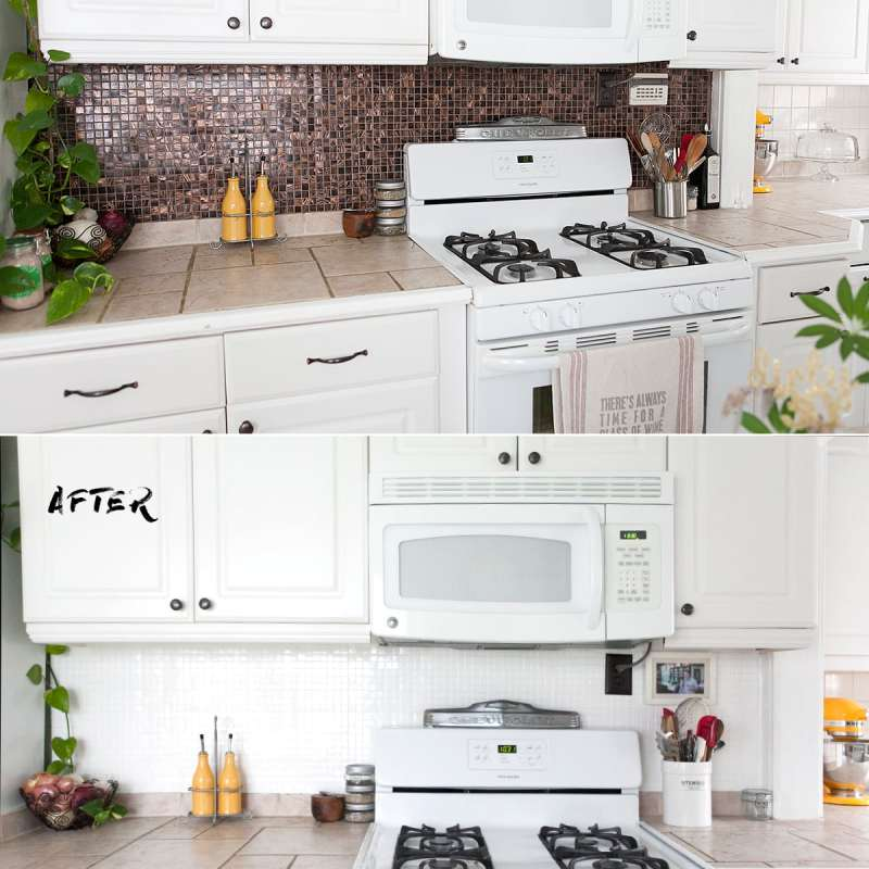 how to paint a tile backsplash, update kitchen backsplash quickly, epoxy paint ceramic tile backsplash, kitchen remodel, redo, jessica brigham blog, quick kitchen remodels