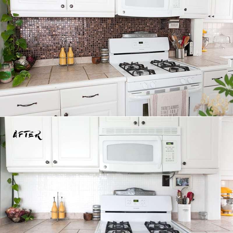 how to paint a tile backsplash, update kitchen backsplash quickly, epoxy paint ceramic tile backsplash, kitchen remodel, redo, jessica brigham blog, quick kitchen remodels