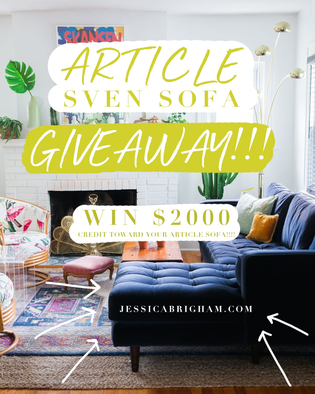 Article Sven Sofa GIVEAWAY | Mid Century Modern Furniture | Win $2000 credit toward Article | Jessica Brigham | Magazine Ready for Life