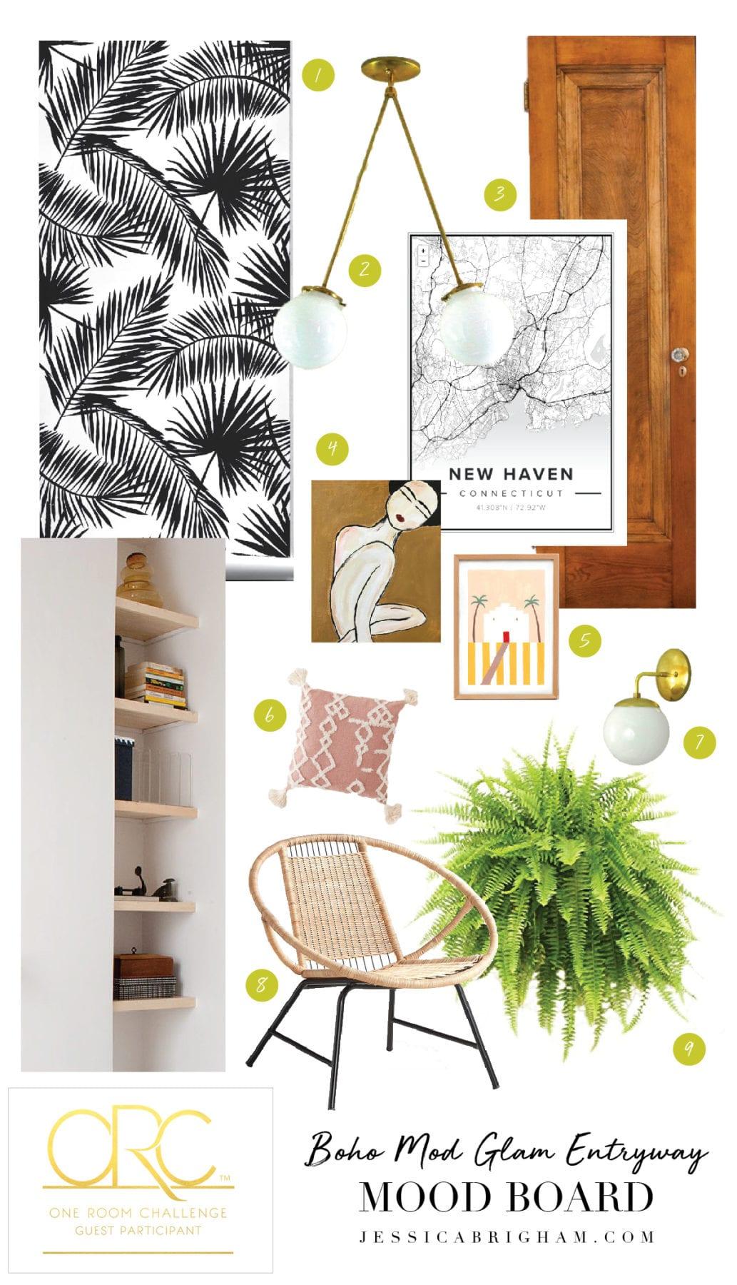 One Room Challenge | Boho Mod Glam Entryway | Week One | Jessica Brigham | Magazine Ready for Life