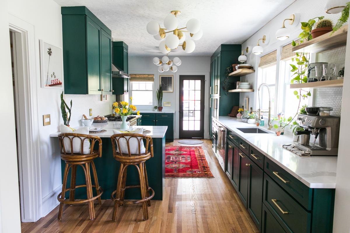 Floating Shelves | One Room Challenge | Dark Green Kitchen Glamazon | Kitchen Mood Board | Open Kitchen Design | Kitchen Renovation | Jessica Brigham | Magazine Ready for Life | www.jessicabrigham.com