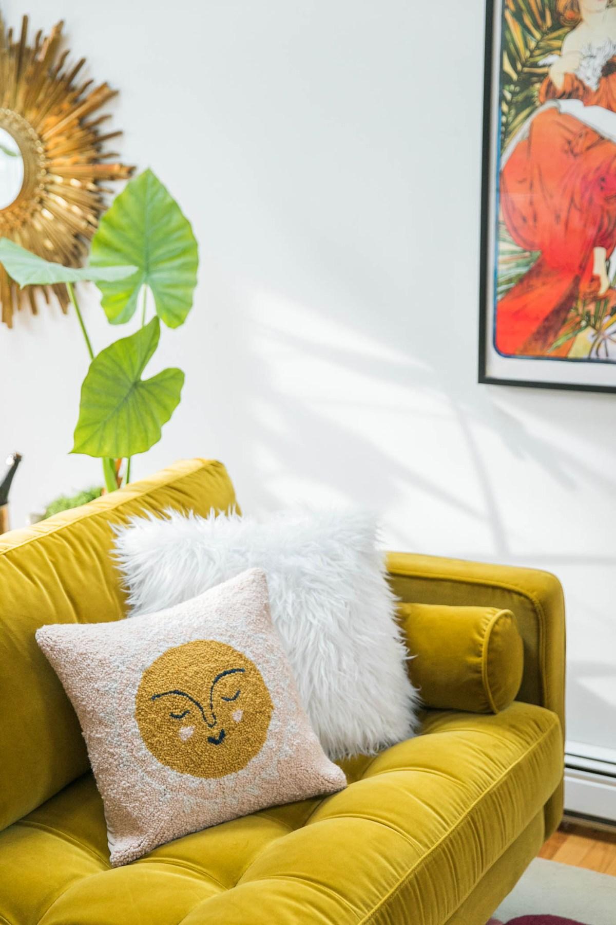 Vibrant Mid-Century Glam Living Room Refresh with Article   Living Room Decor Ideas   Art Deco Living Room   JessicaBrigham.com