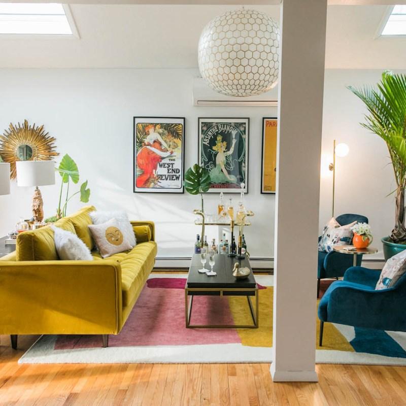 Vibrant Mid-Century Glam Living Room Refresh with Article | Living Room Decor Ideas | Art Deco Living Room | JessicaBrigham.com