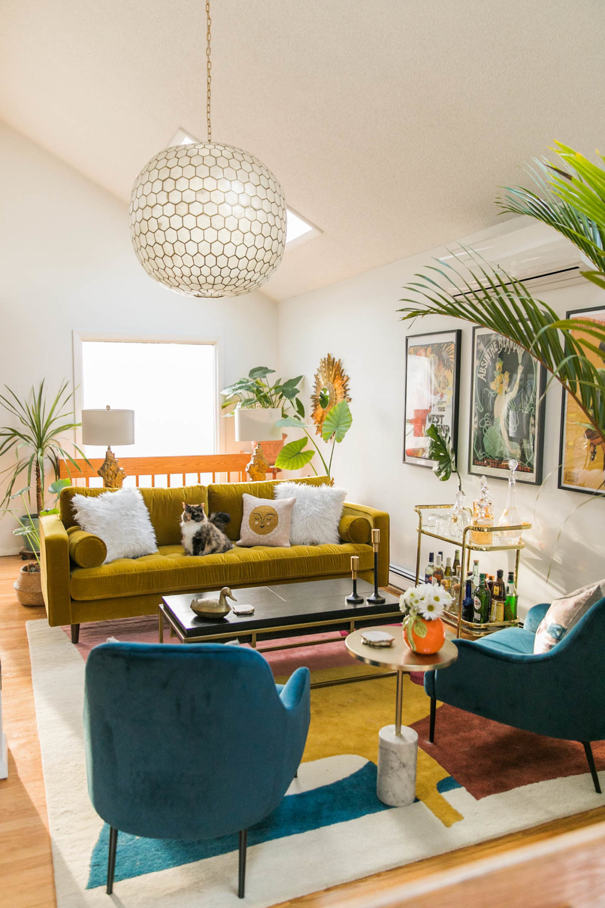Vibrant Mid-Century Glam Living Room Refresh with Article | Living Room Decor Ideas | Art Deco Living Room | JessicaBrigham.com