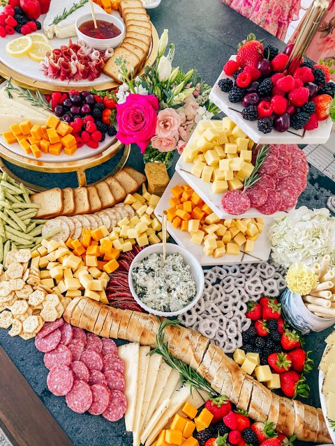 Cute Pink Baby Shower Ideas featured by top Houston lifestyle blogger and expecting mom, Jessica Crum.   Pink Baby Shower by popular Houston motherhood blogger, Jessica Crum: image of charcuterie board by Event Seven.