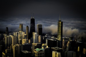 Picture of downtown Chicago with fog from high up