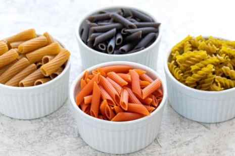 Specialty types of pasta with different colors