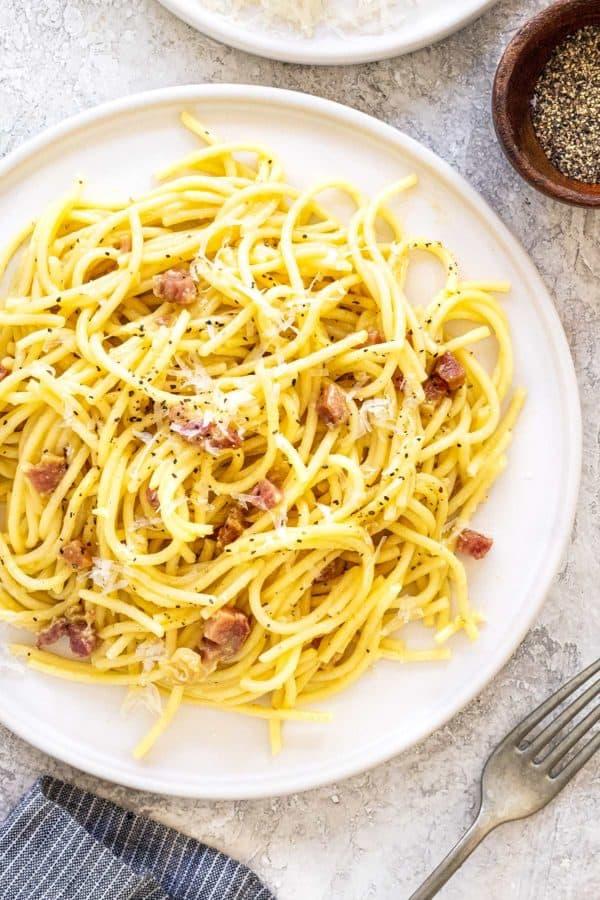 plate of spaghetti carbonara with pancetta