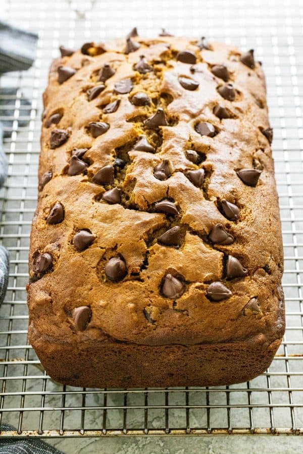 chocolate chip pumpkin bread on a wire rack