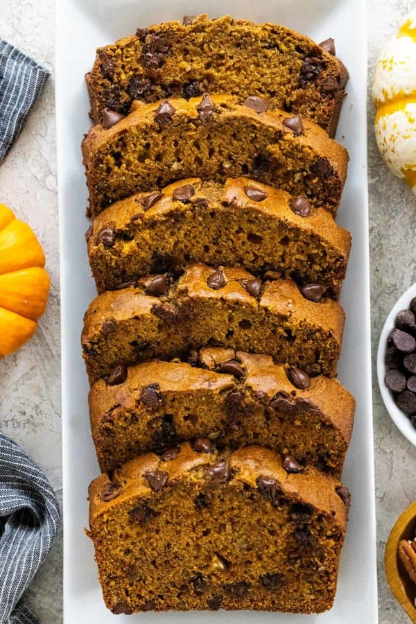 slices of pumpkin bread with chocolate chips