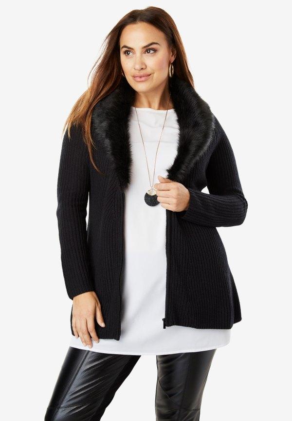 Fur-trim Cardigan Sweater Size Sweaters & Cardigans