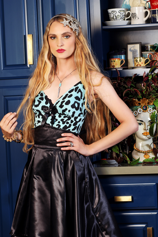 jessica louise leopard tank top with satin opera skirt