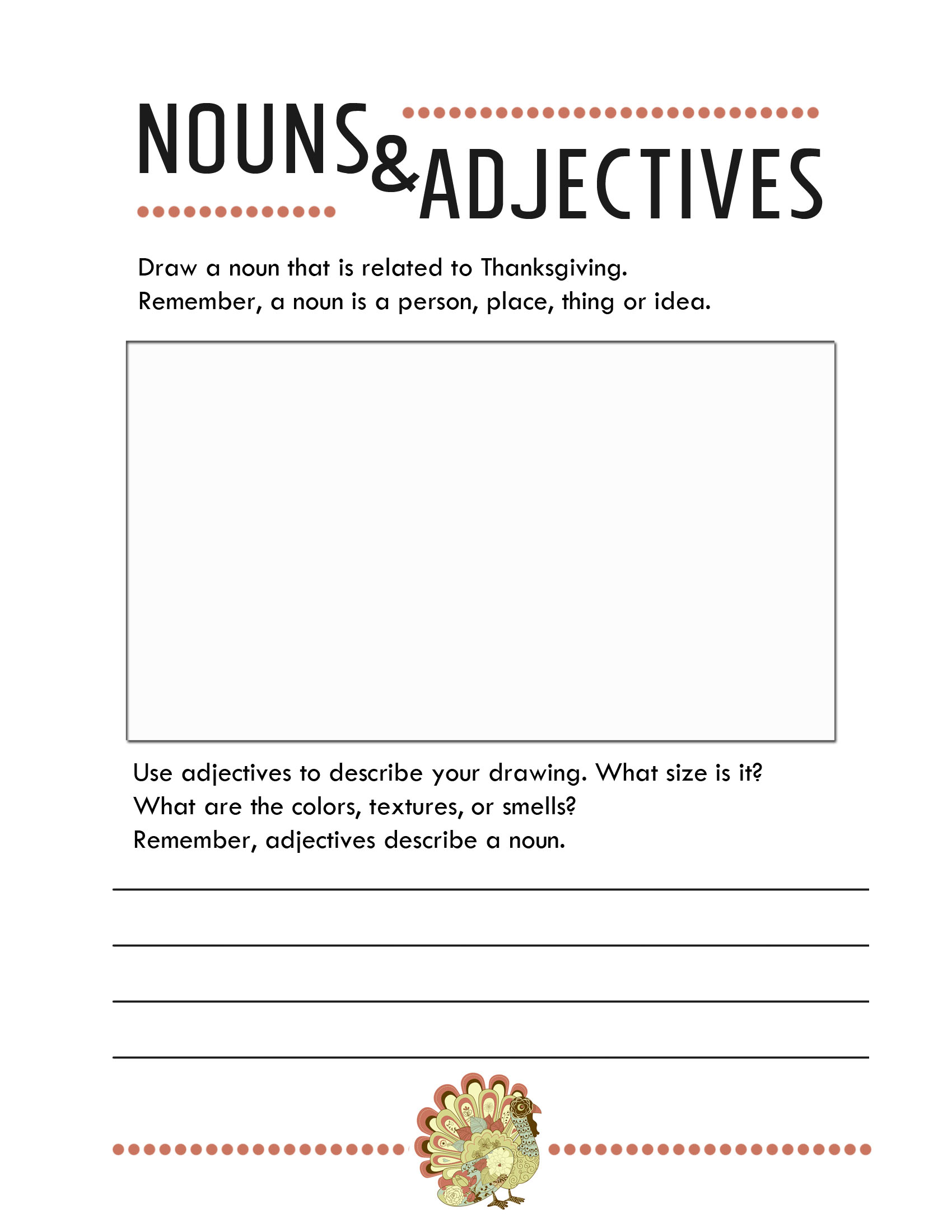 Worksheet Adjectives And Nouns Worksheet thanksgiving worksheets free printables jessicalynette com nouns and adjectives