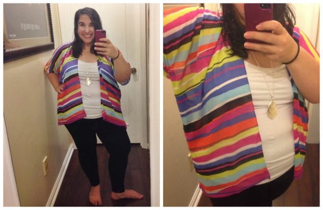 dia and co box reveal: Fraas Multicolor Striped Kimono, $45 (Gotta love a company that goes the extra mile for women who wear a size 10 and up!)