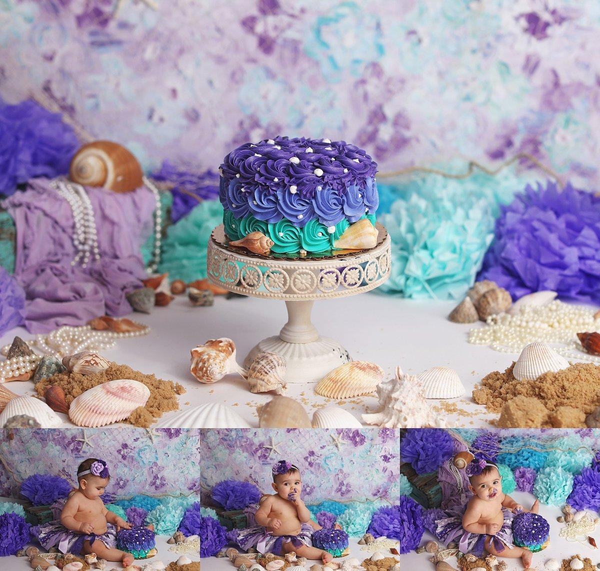 Messy Mermaid Cake Smash first Birthday PhotosTonawanda