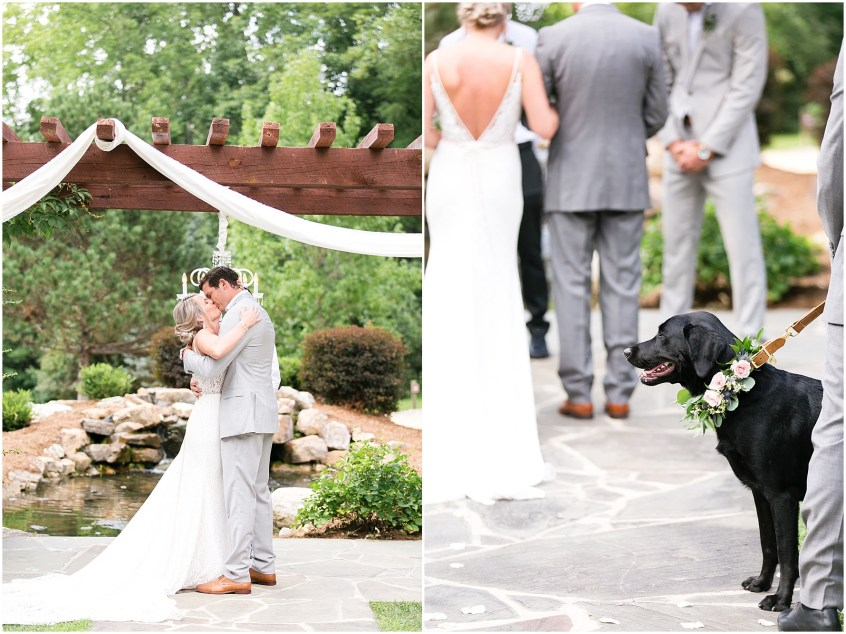 dog in wedding ceremony at House Mountain Inn in Lexington, Virginia, Bride and groom first kiss as husband and wife, Jessica Ryan Photography