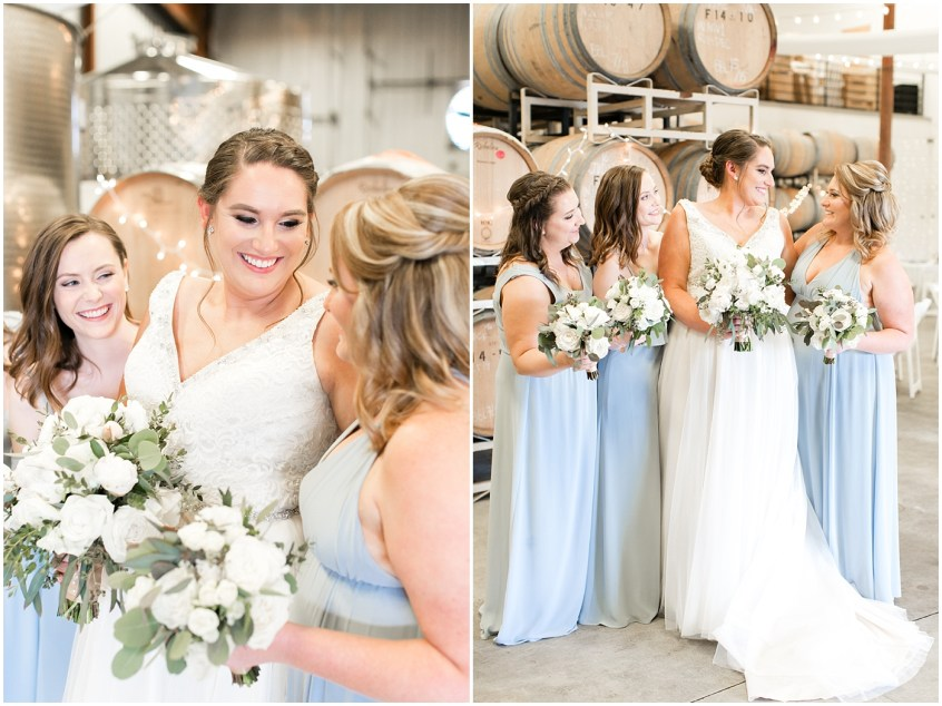 sanctuary vineyards barrel room bridal portraits, bride and bridesmaids at the Sanctuary Vineyards, winery wedding,