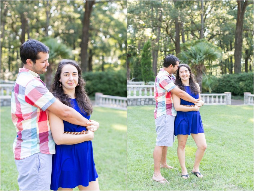 Norfolk Botanical Gardens Engagement portraits of bride and groom