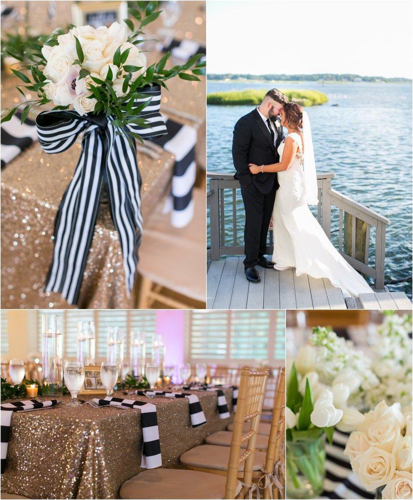 lesner inn virginia beach wedding black, white and gold black tie wedding