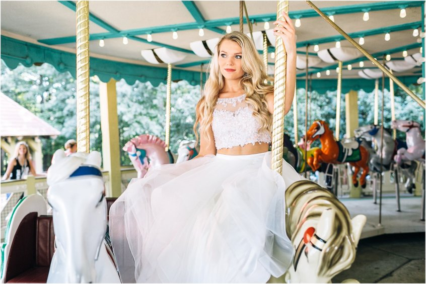 studio i do wedding dress, bridal portrait on a carousel at busch gardens Williamsburg