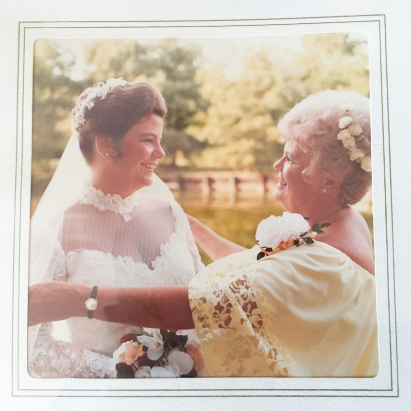 mom and bride vintage wedding day portrait