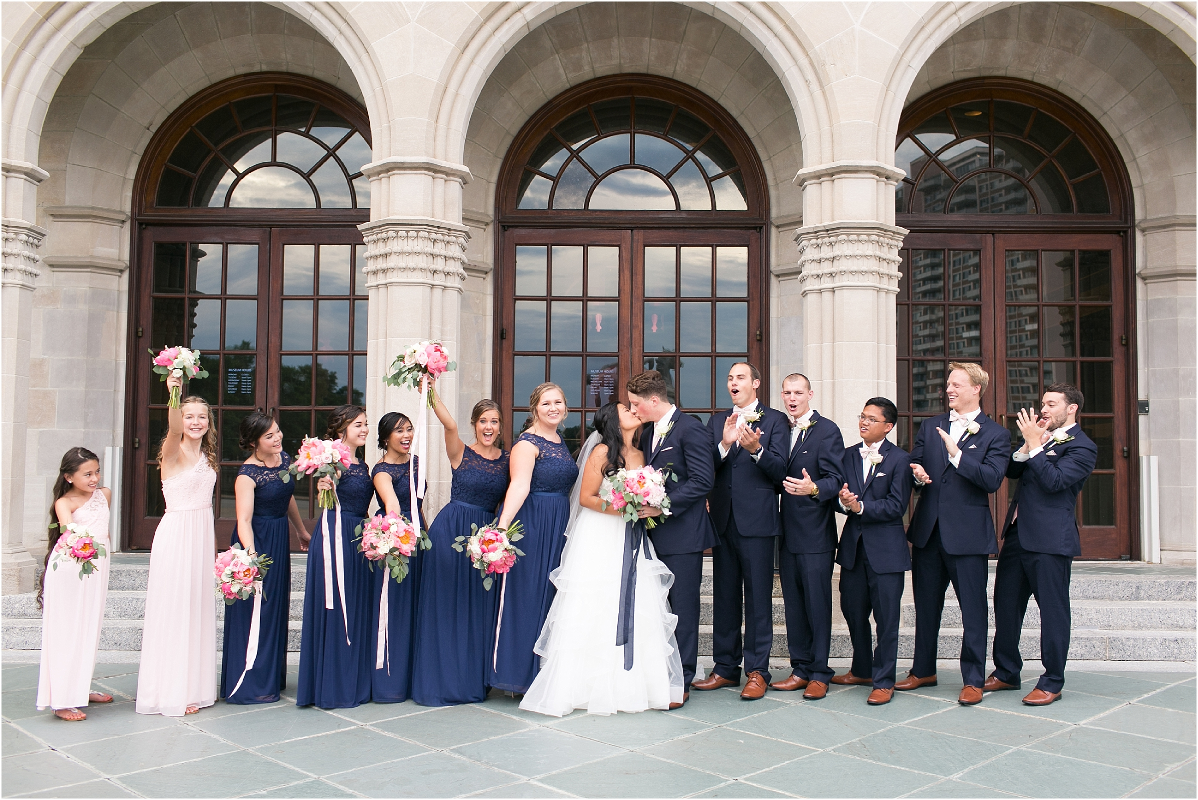 Chrysler Museum of Art grand elegant bridal party portrait