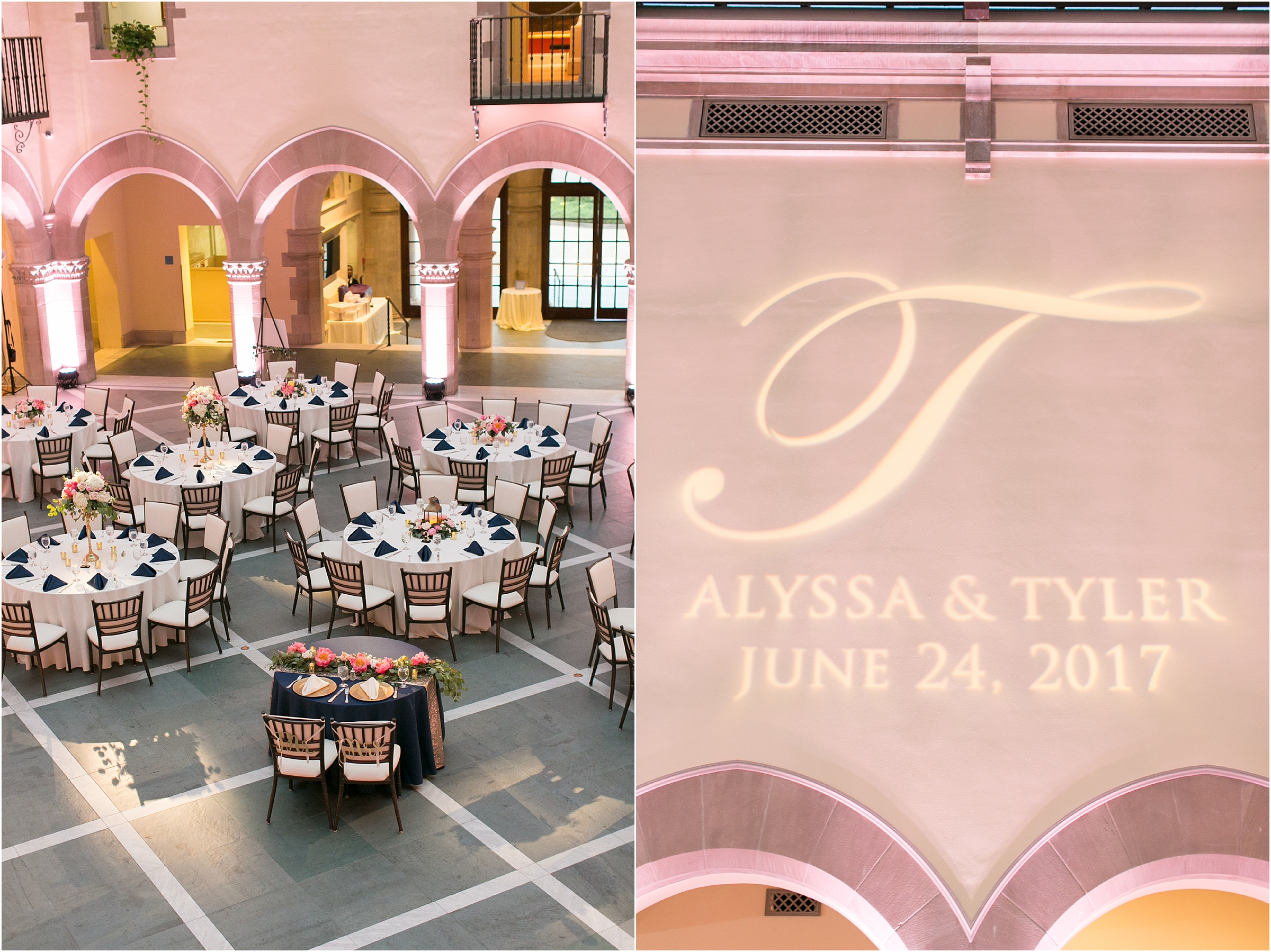 Chrysler Museum of Art elegant wedding reception jessica ryan photography blue steel lighting